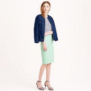 J  Crew no 2 pencil skirt sz 4 pastel green cotton